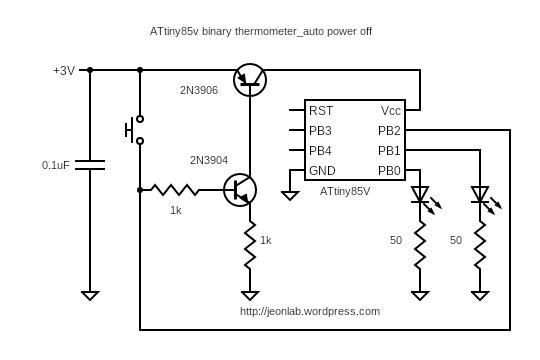 ATtiny85V binary thermometer_auto off