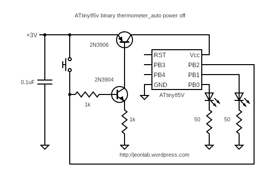ATtiny85V binary thermometer_auto off